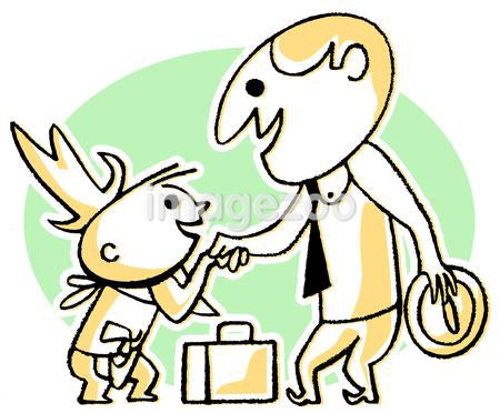 A cartoon style drawing of a business man greeting a small child