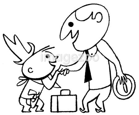 A black and white version of a cartoon style drawing of a business man greeting a small child