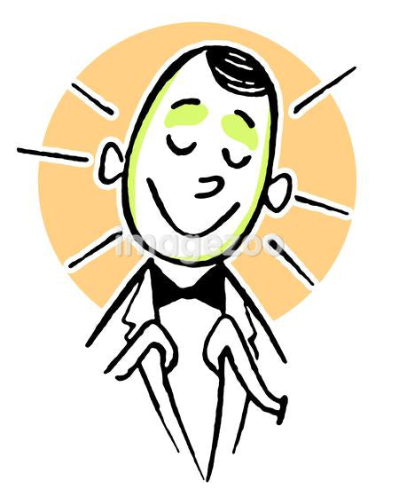 A cartoon style drawing of a happy looking clerk