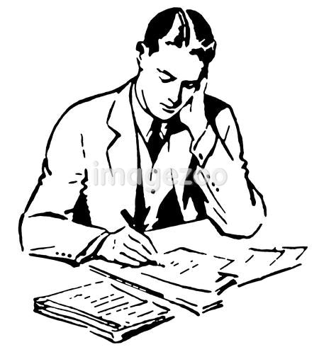 A black and white version of a graphic illustration of a business man working hard at his desk