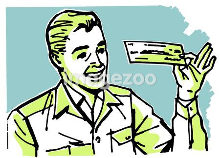 A graphic illustration of a business man examining a check