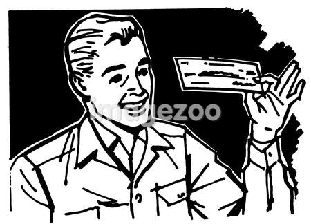 A black and white version of a graphic illustration of a business man examining a check