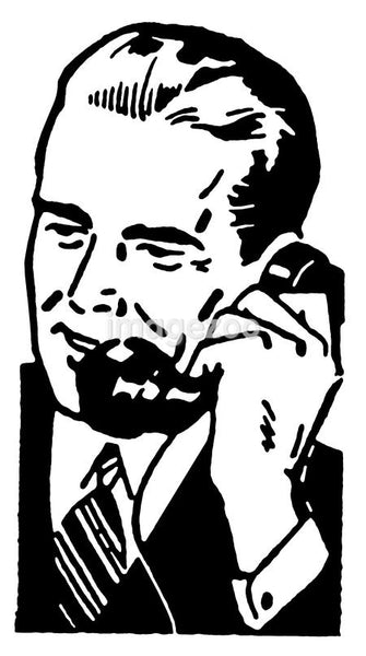 A black and white version of a graphic illustration of a businessman talking on the telephone