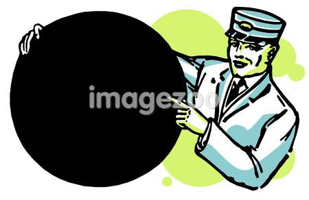 An illustration of a train conductor holding a round sign
