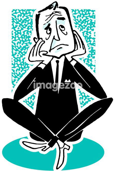 An illustration of a worried looking businessman