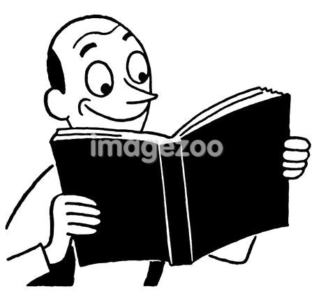 A black and white version of a cartoon style drawing of a man enjoying a book