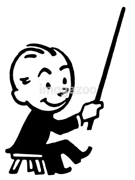 A black and white version of a cartoon style drawing of a conductor
