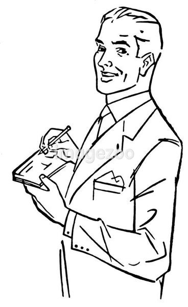 A black and white version of a graphic illustration of a man signing a check