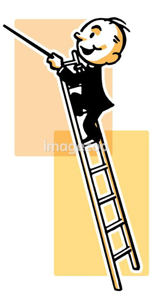 A cartoon style drawing of a conductor high up a ladder