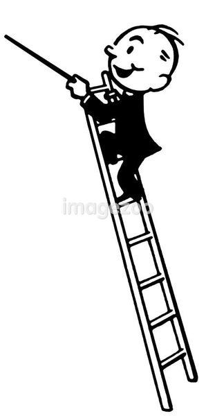 A black and white version of a cartoon style drawing of a conductor high up a ladder