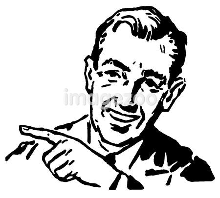 A black and white version of a graphic illustration of a businessman pointing to the left