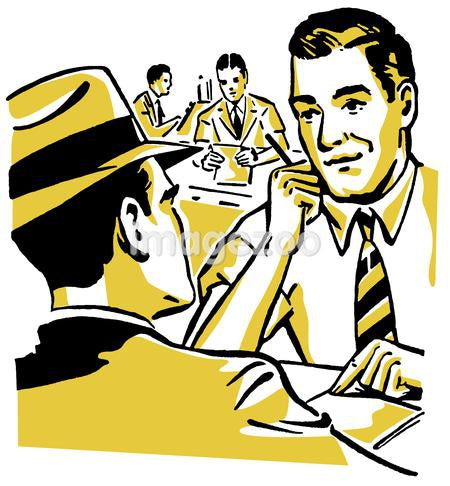 A graphic illustration of two men doing a business deal