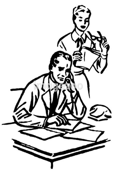 A black and white version of a businessman working at his desk with his secretary standing over him