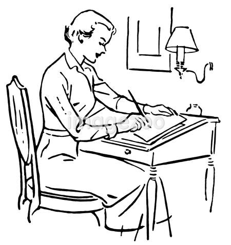 A black and white version of a line drawing of a woman at a writing desk