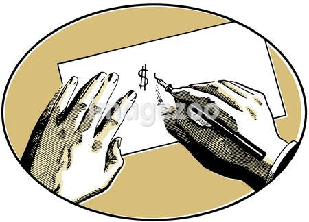 An illustration of two hands on a desk writing a dollar symbol