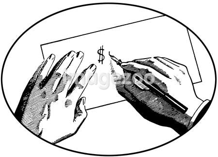 A black and white version of an illustration of two hands on a desk writing a dollar symbol