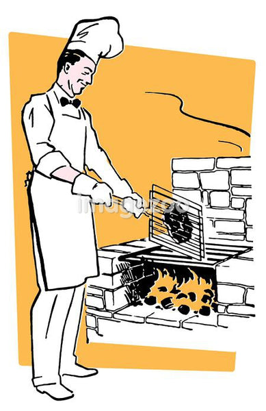 A chef cooking on an barbeque fire