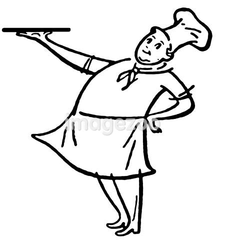 A black and white version of a woman stirring a double boiler on the stovetop