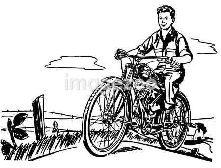 A black and white version of a young boy and his motorbike