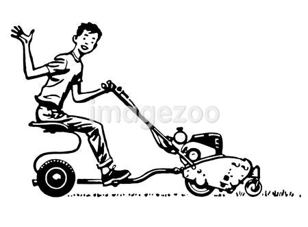 A black and white version of a young boy waving happily from a ride on mower