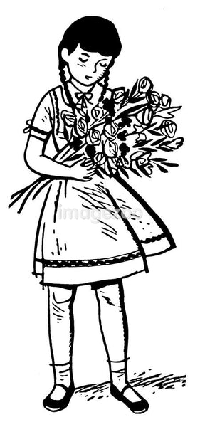 A black and white version of a young girl holding a large offering of roses