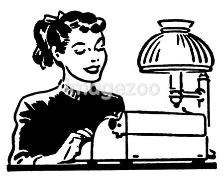 A black and white version of a young woman working on a typewriter