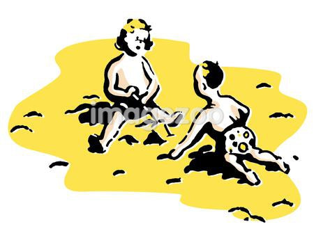 Two small children playing in the sand