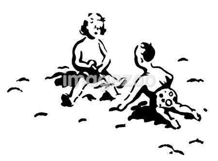 A black and white version of two small children playing in the sand