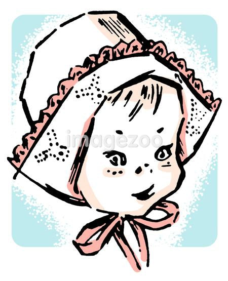 A portrait of a small baby wearing a bonnet