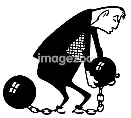 A black and white version of an illustration of a man carrying a ball and chain