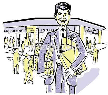 An illustration of a businessman outside his shop front