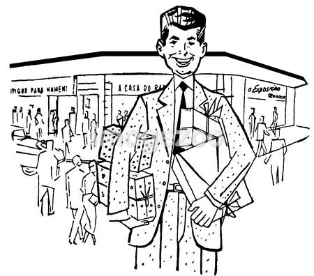 A black and white version of an illustration of a businessman outside his shop front