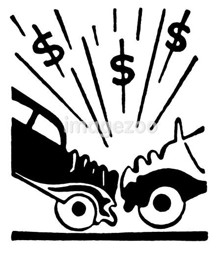 A black and white version of an illustration of a car accident and resulting in dollar signs