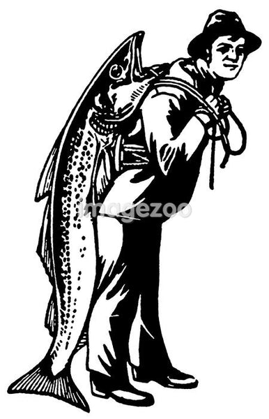 A black and white version of a man carrying a fish almost as big as he is