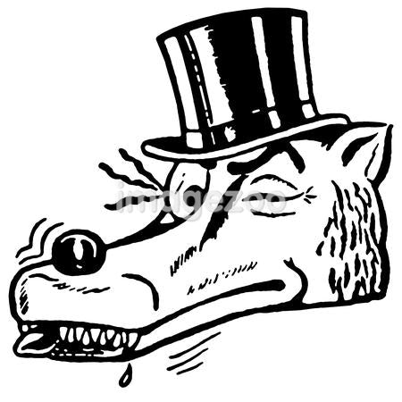 A black and white version of a winking wolf wearing a top hat