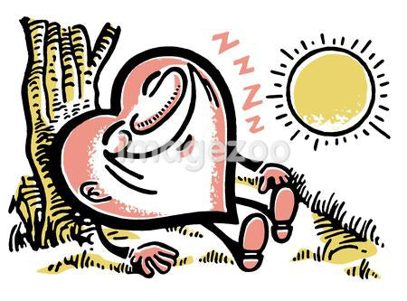 A heart character catch some Z's in the sun