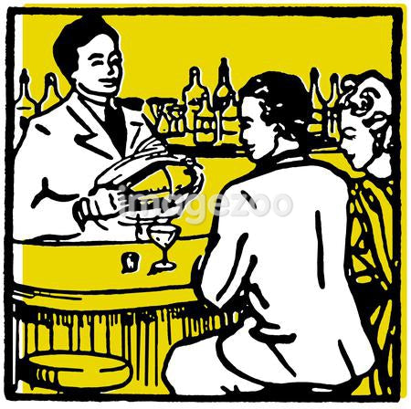 A graphic illustration of couple at a bar enjoying a drink