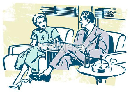 An illustration of a couple taking on a sofa