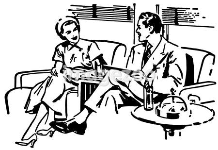 A black and white version of an illustration of a couple taking on a sofa
