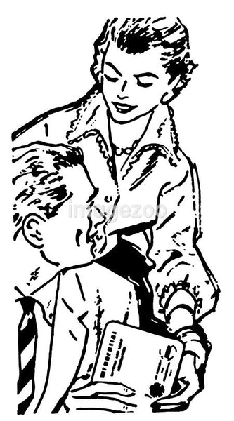 A black and white version of a woman handing a parcel to her husband