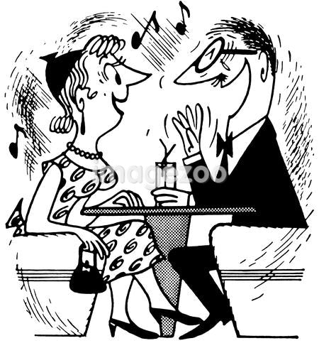 A black and white version of a cartoon style drawing of an excited couple