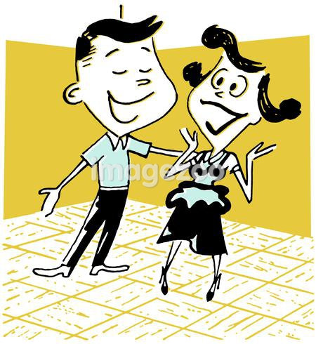 A cartoon style drawing of a young couple on a dance floor