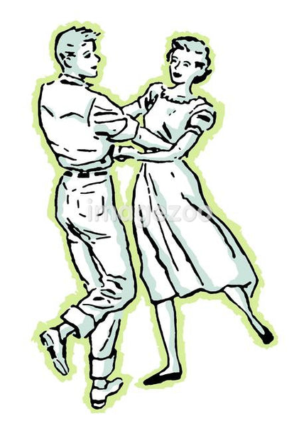 An illustration of a couple dancing