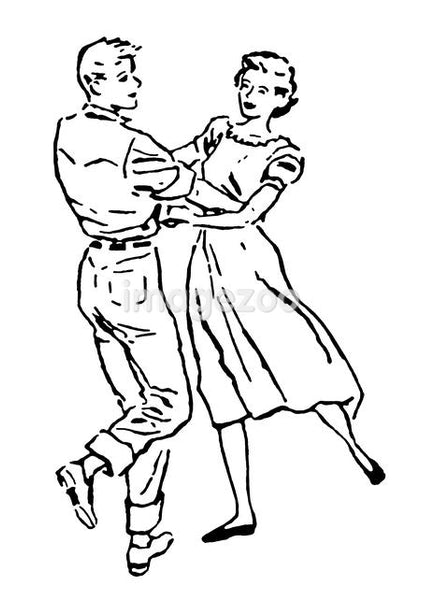 A black and white version of an illustration of a couple dancing