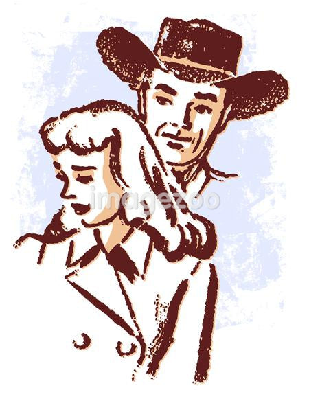 An illustration of a cowboy and a sad looking woman