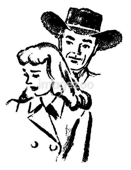 A black and white version of an illustration of a cowboy and a sad looking woman