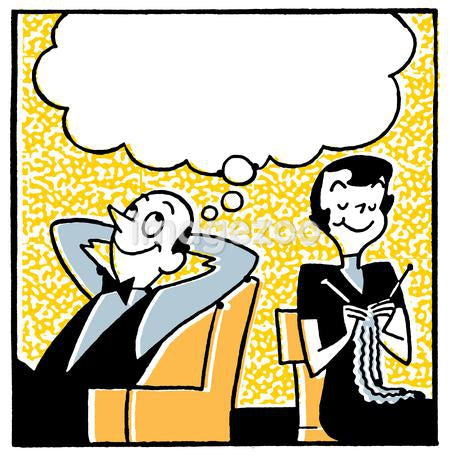 A cartoon style image of a couple with a large speech bubble above
