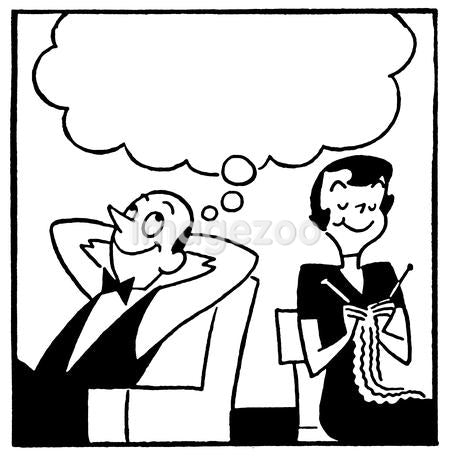 A black and white version of a cartoon style image of a couple with a large speech bubble above