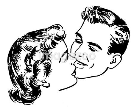 A black and white version of a vintage illustration of a couple embracing