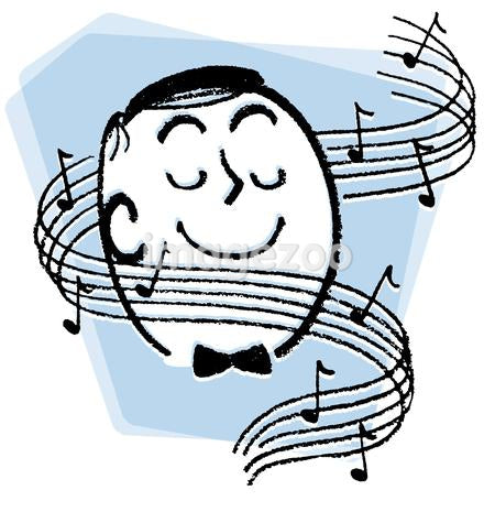 A cartoon style image of a man surrounded by musical notes